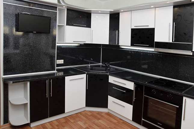 кухни черно белые фото угловые