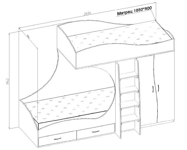 Двухъярусная кровать угловая своими руками чертежи фото