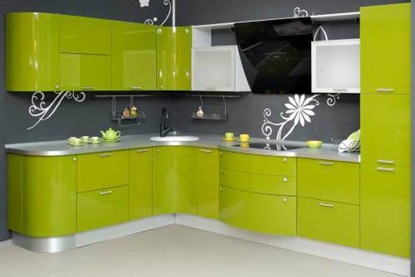Кухня глянцевая фисташкового цвета
