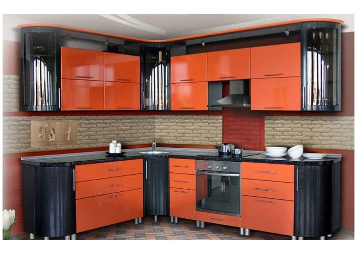 оранжево серая кухня фото