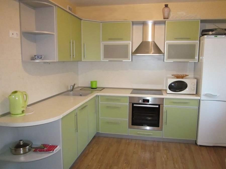 Кухня угловая цвета лайм