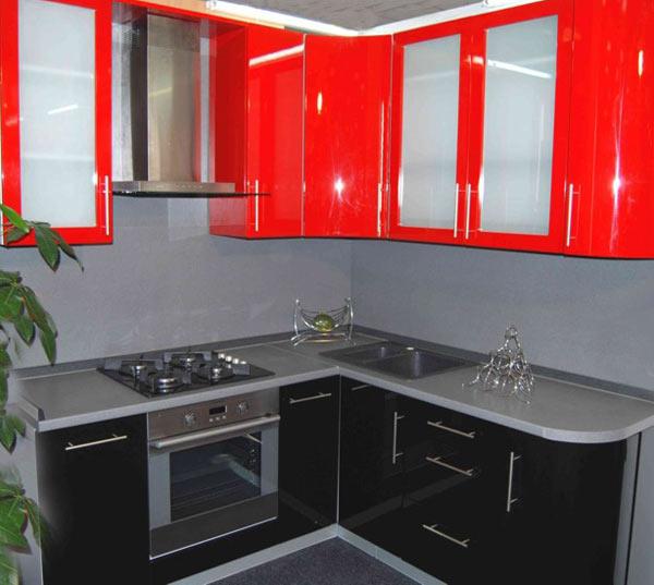 угловая кухня красная фото