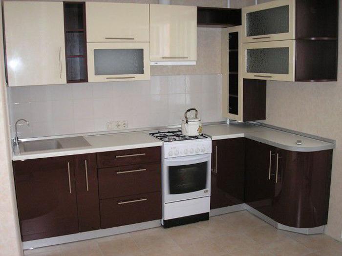 коричнево бежевая кухня фото