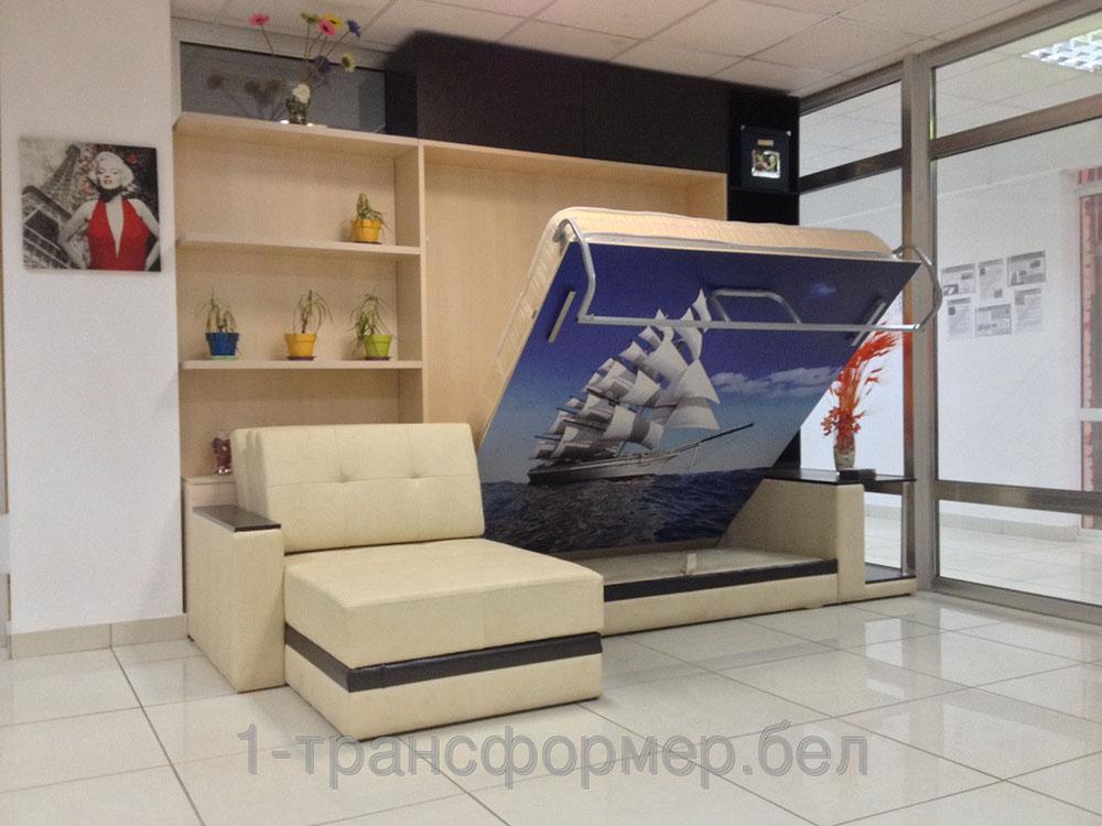 подъемная шкаф кровать с диваном премьер со столом