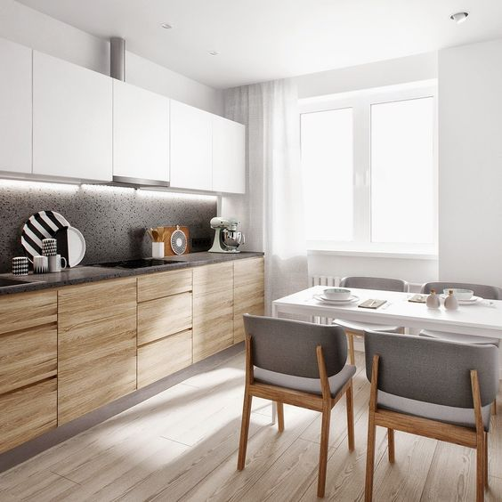 контрастная светлая кухня дерево белый глянец